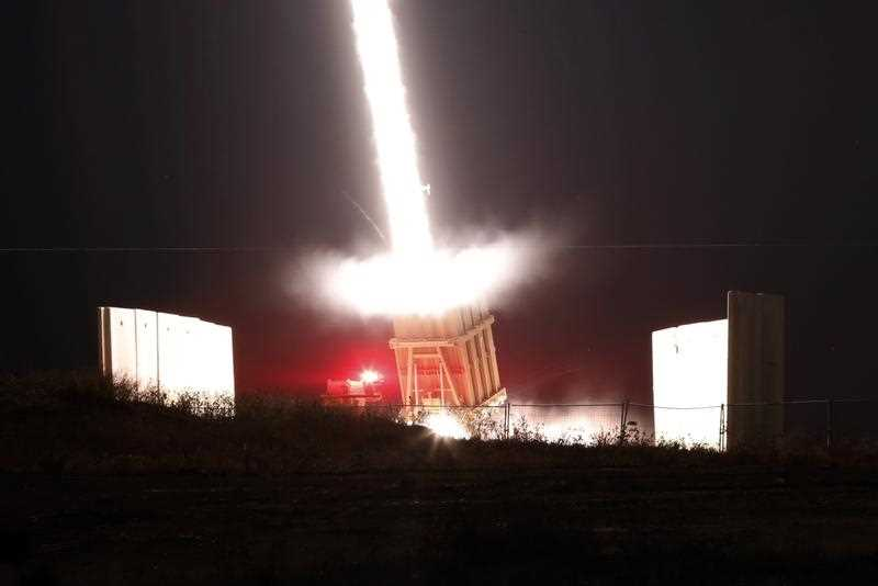 A long exposure captures the Israeli iron dome anti missile system in action.