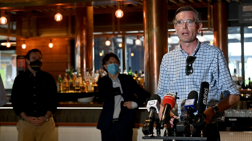 NSW Premier Dominic Perrottet speaks to the media during a press conference at the Marsden Brewhouse in Marsden Park, Sydney.