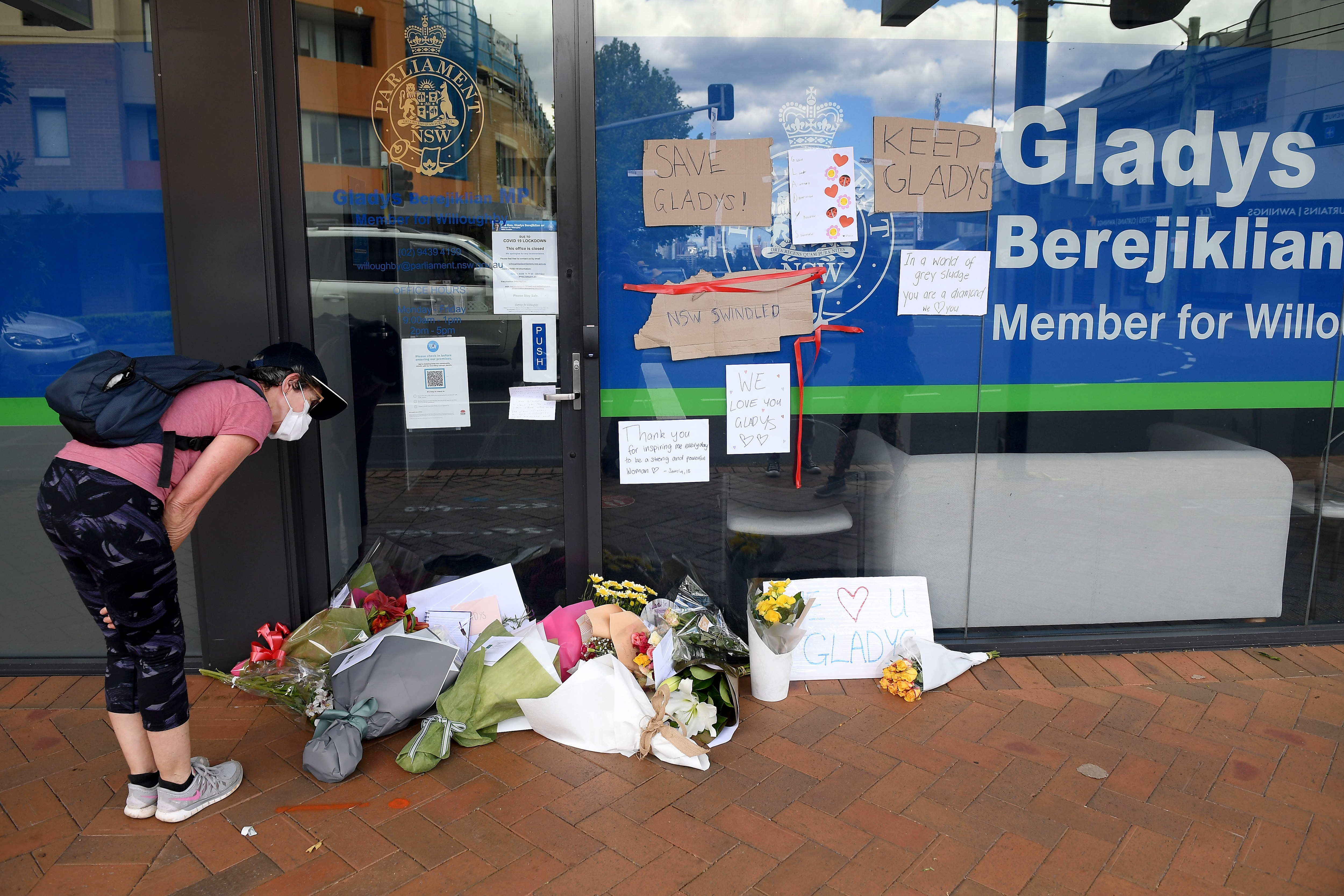 Messages and flowers outside Gladys Berejiklian's polling station, in Sydney.