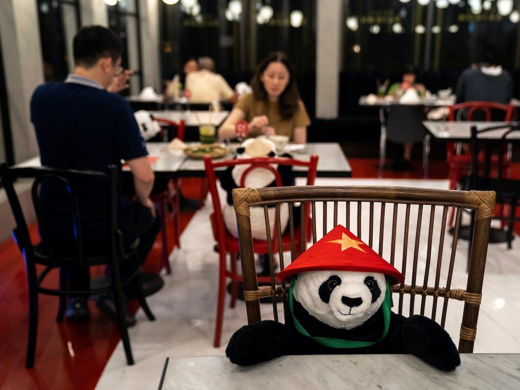 Maison Saigon in Bangkok, Thailand placed stuff panda bears on seats to keep customers apart.