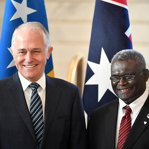 Malcolm Turnbull and Solomon Islands PM Manasseh Damukana Sogavare
