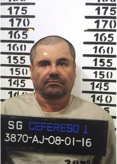 El Chapo's mugshot after his arrest.