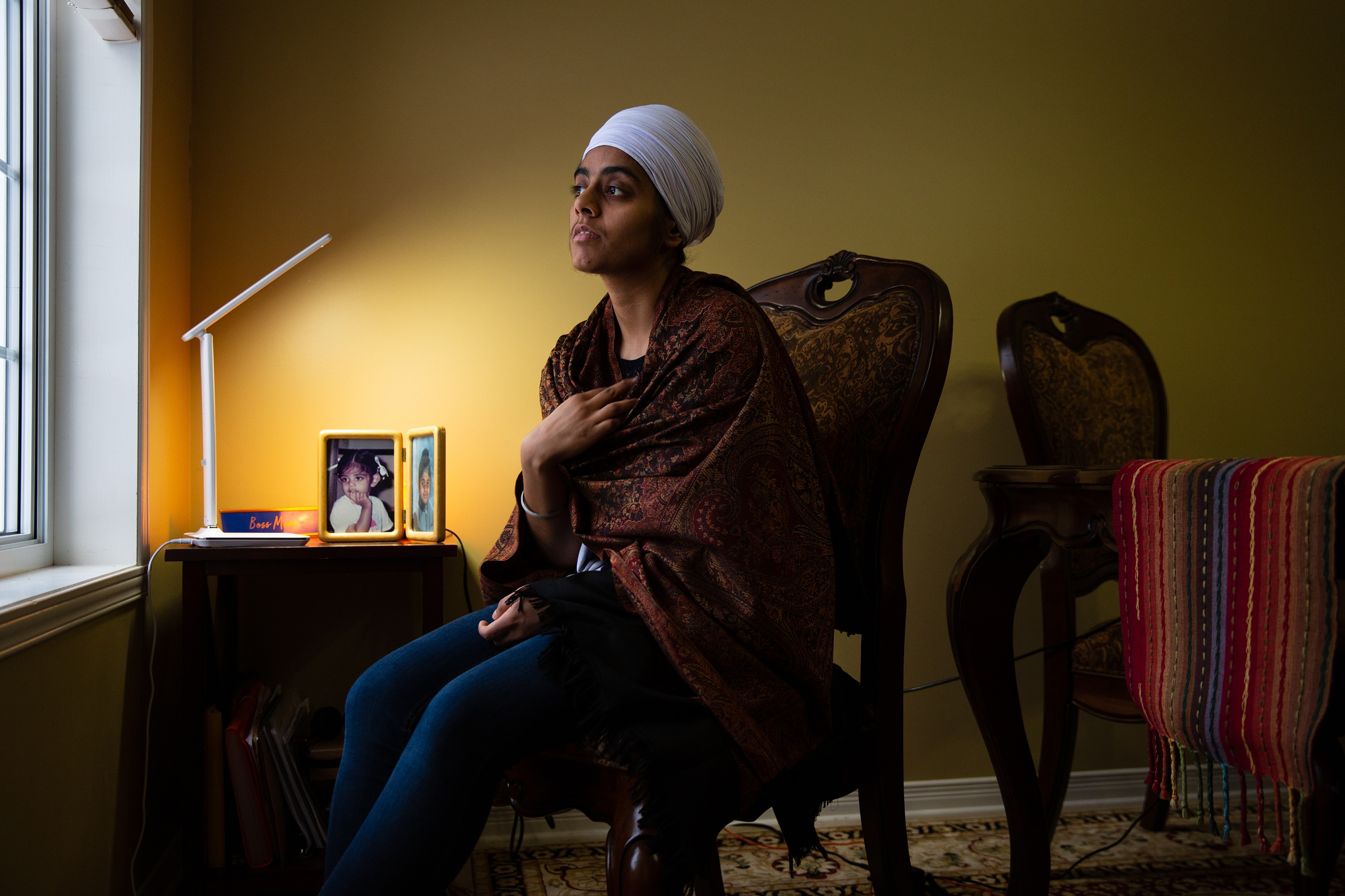 Amrit Kaur, a young teacher who is Sikh and left Quebec for a position in British Columbia so that she would not be forced to remove her turban when teaching.