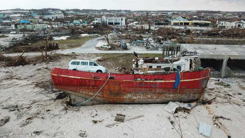 A boat sits grounded in the aftermath of Hurricane Doria.