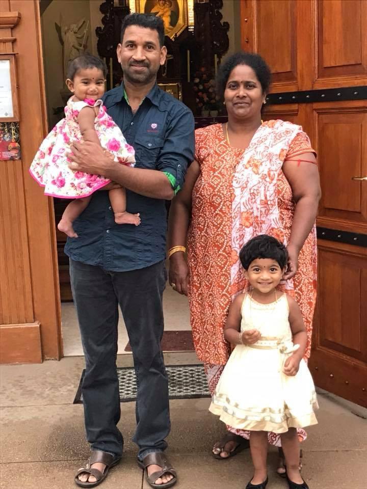 Tamil asylum seekers Nadesalingnam, wife Priya, and their Australian-born daughters Dharuniga and Kopiga.