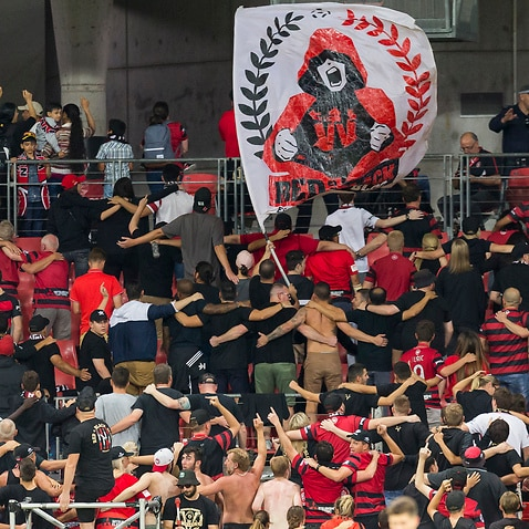Western Sydney Wanderers fans during the Round 22 A-League match between the Western Sydney Wanderers and the Wellington Phoenix at Spotless Stadium in Sydney, Saturday, March 10, 2018. (AAP Image/Craig Golding) NO ARCHIVING, EDITORIAL USE ONLY