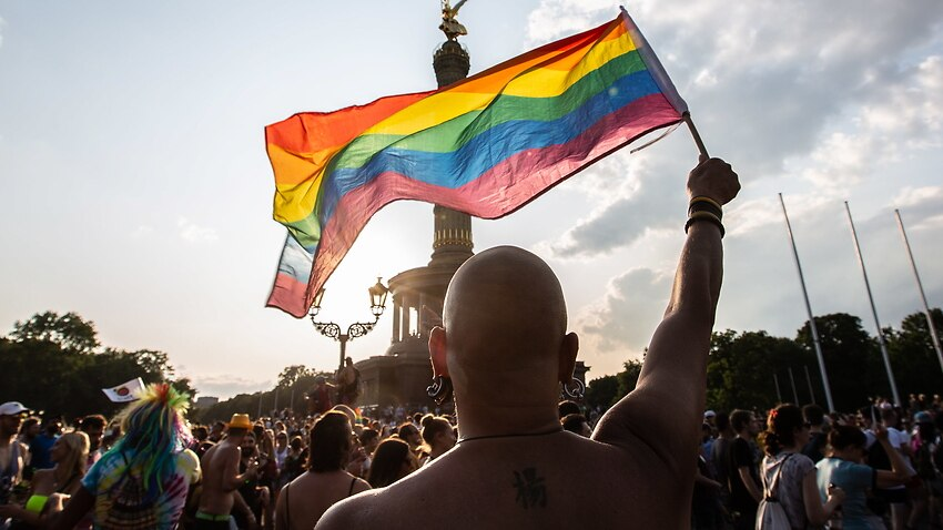 People participate in the 41st Christopher Street Day LGBT parade in Berlin, Germany, 27 July 2019.