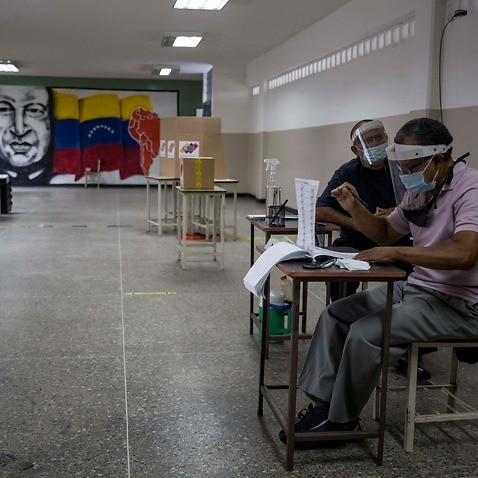 An empty polling station in Caracas.