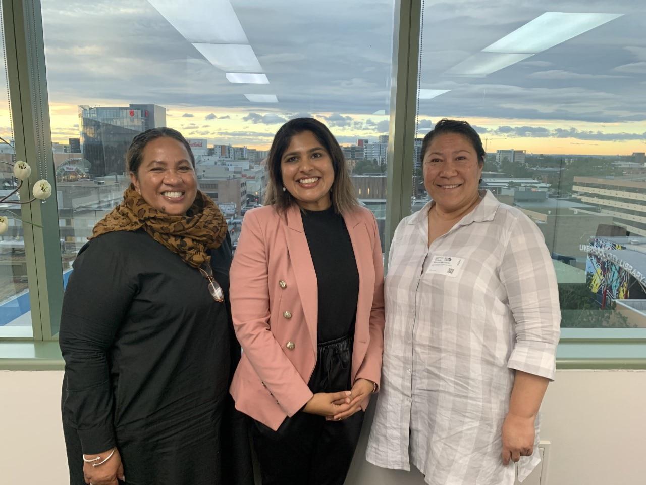 Charishma Kaliyanda (centre) with members of the Fijian Diaspora Women's Alliance in June 2021