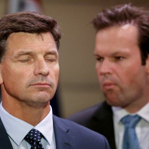Federal Energy Minister Angus Taylor (L) and Resource Minister Matt Canavan (R)