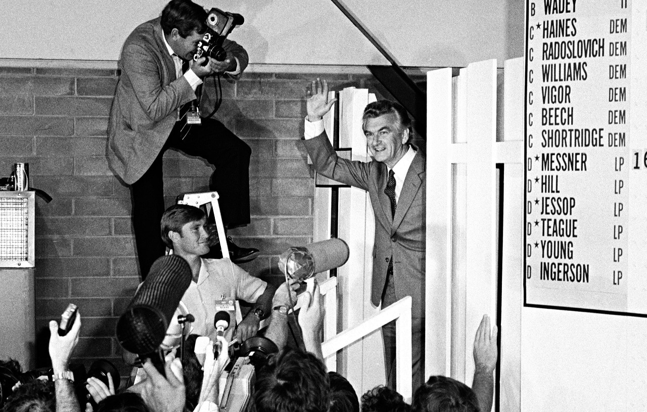 Bob Hawke on election night in 1983.