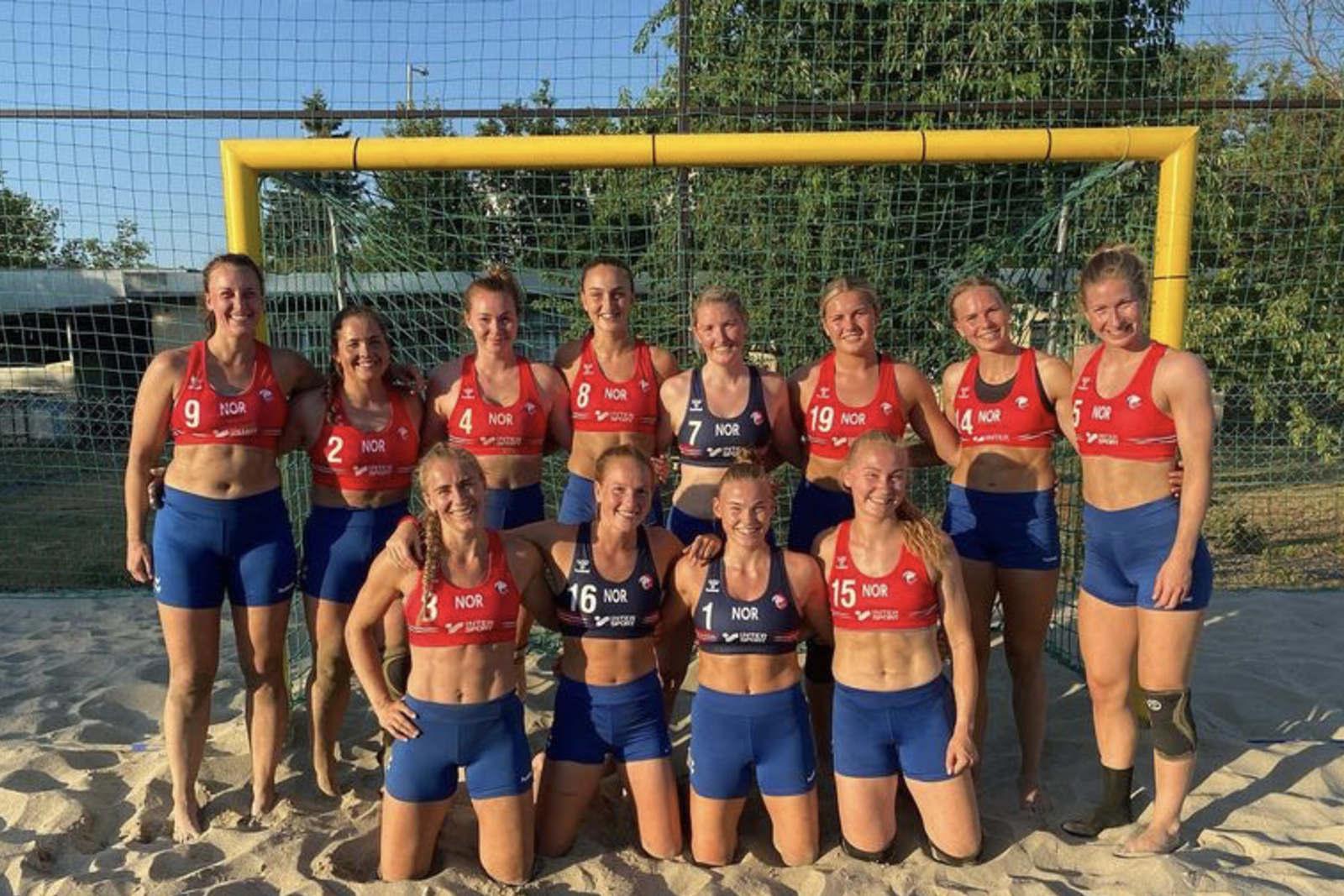 Norway's beach handball team pictured wearing shorts instead of bikini bottoms at a European championship match.