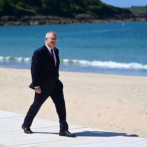 Prime Minister Scott Morrison during the G7 Summit in Carbis Bay, Britain, 12 June 2021.