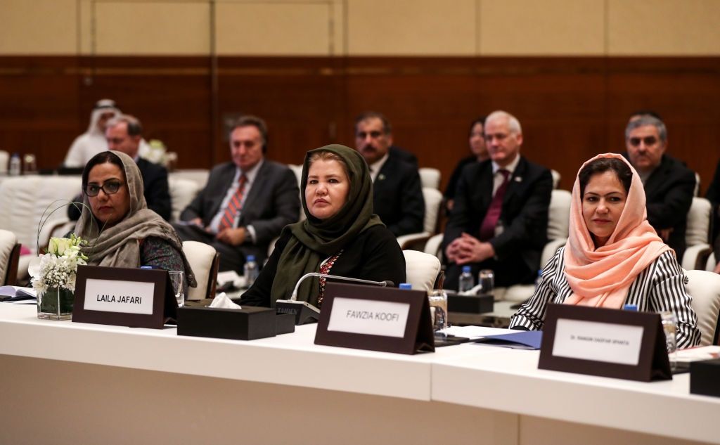 Fawzia Koofi (right) attends the Intra Afghan Dialogue talks in the Qatari capital Doha on July 7, 2019. - (Photo by KARIM JAAFAR / AFP via Getty Images)