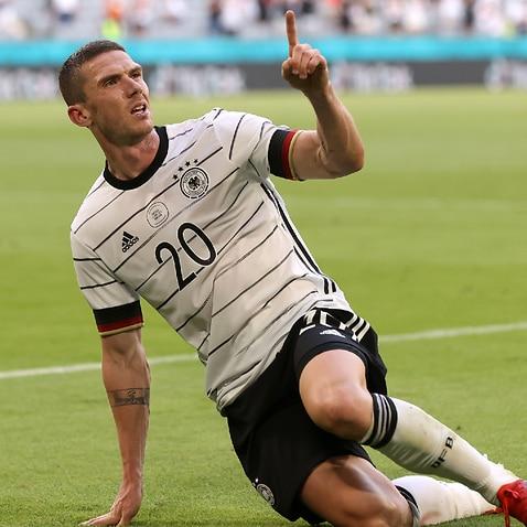 Robin Gosens celebrates a goal for Germany
