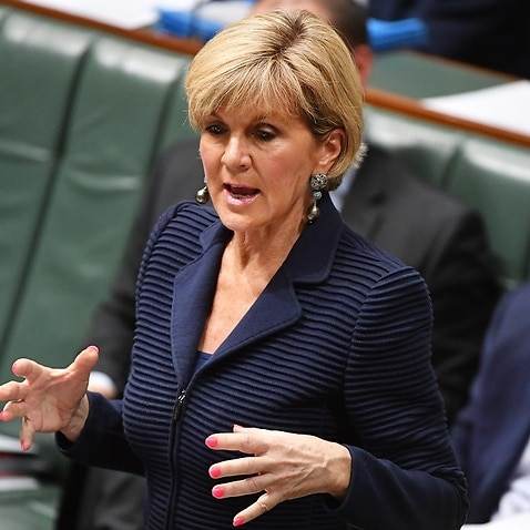Foreign Affairs Minister Julie Bishop in Parliament.