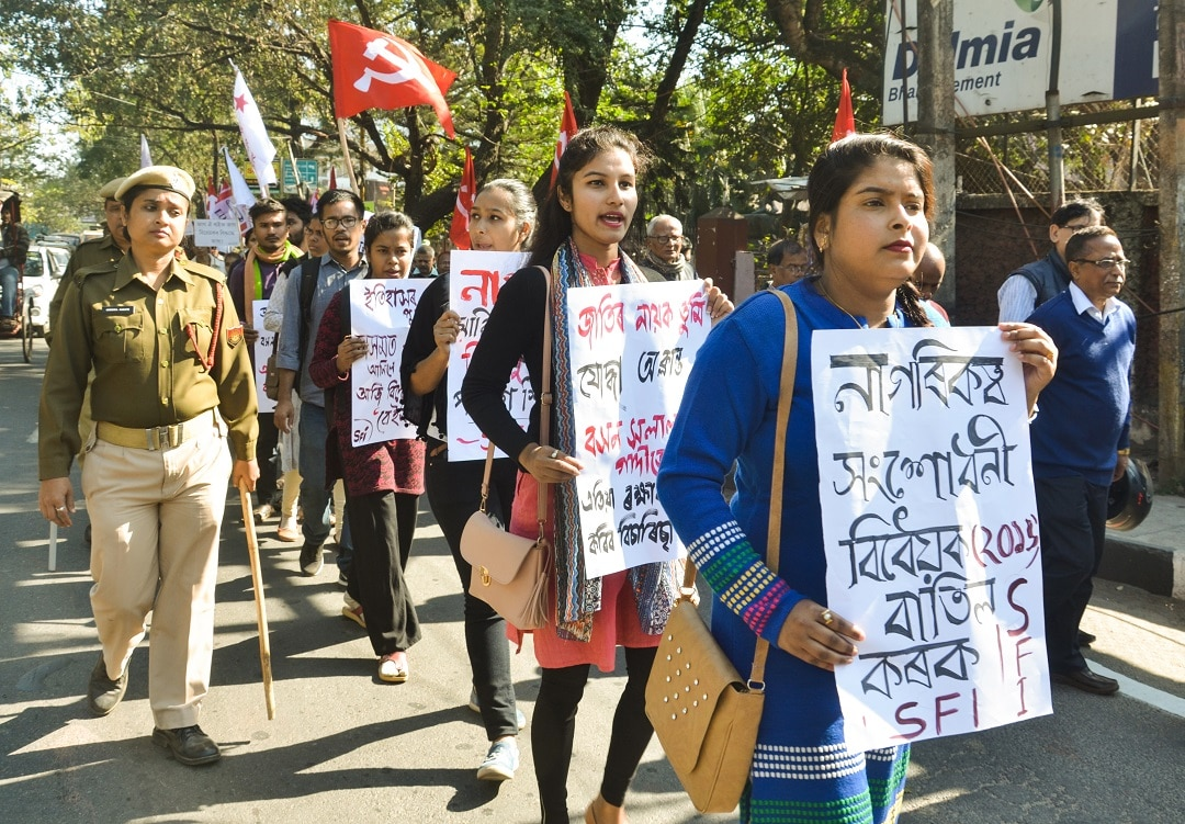 Left Democratic Front activists hold placards during a protest rally against Citizen (Amendment) Bill 2016, in Guwahati, Assam, India Monday, Jan 7, 2019. (Photo by David Talukdar/NurPhoto/Sipa USA).