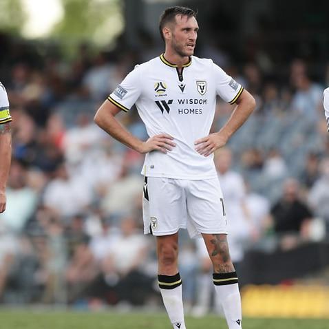 Macarthur FC players react during an A-League match