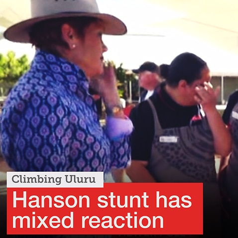 Pauline Hanson's climb up Uluru met with mixed reactions.