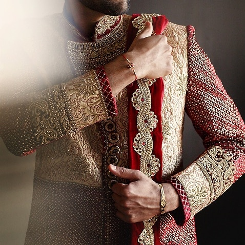 Indian groom in wedding dress