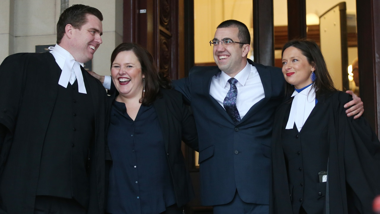 Faruk Orman (second right) with legal team Paul Smallwood (left) Ruth Parker (second left) and Carly Marcs Lloyd (right) leave the court of appeal in Melbourne.