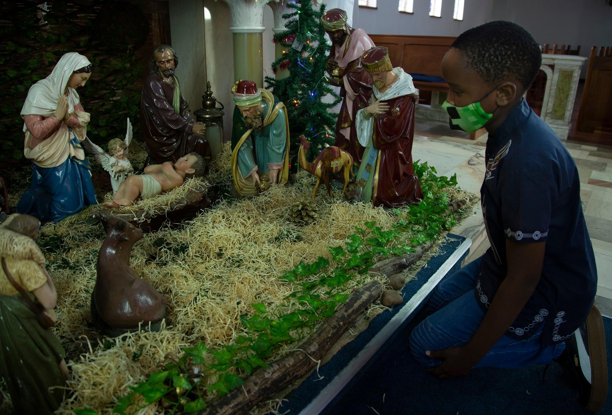 A child attends the Rosebank Catholic Church in Johannesburg.