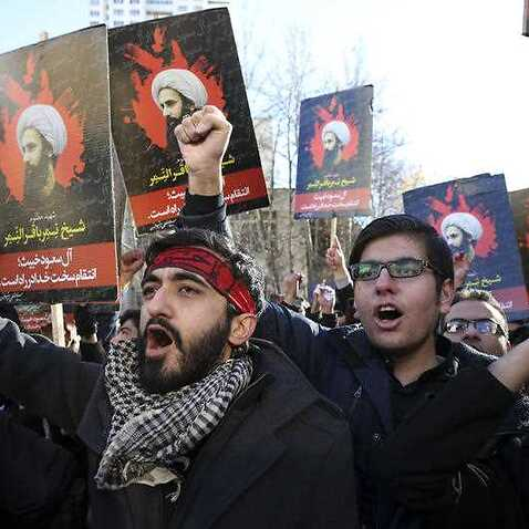 Iranian demonstrators chant slogans during a protest denouncing the execution of Sheikh Nimr al-Nimr, a prominent opposition Shiite cleric in Saudi Arabia