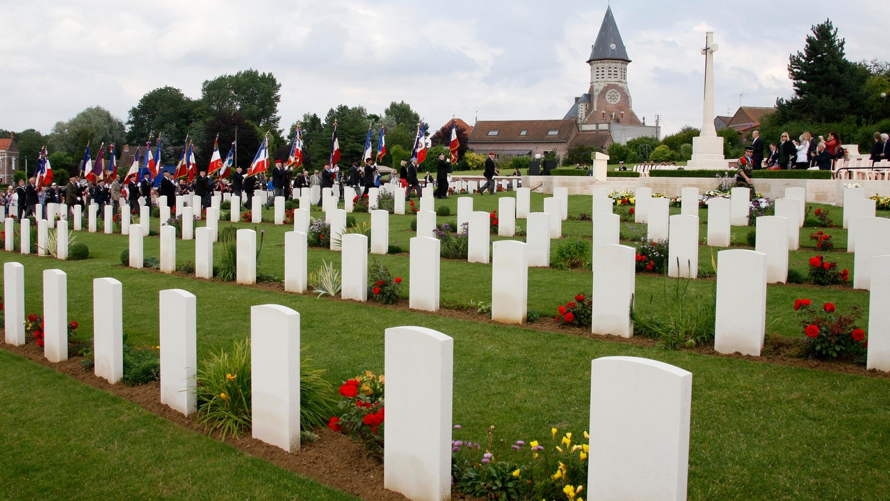 Different cultures grieve and bury their dead in different ways. Pictured, is the Fromelles Military Cemetery in France.