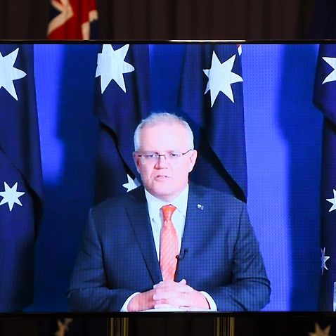 Australian Prime Minister Scott Morrison speaks to the media during a virtual press conference at Parliament House in Canberra.