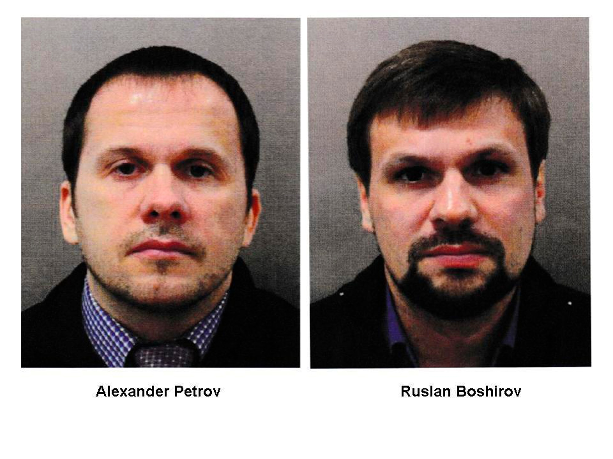 This file combination photo shows the men identified as Alexander Petrov, left, and Ruslan Boshirov