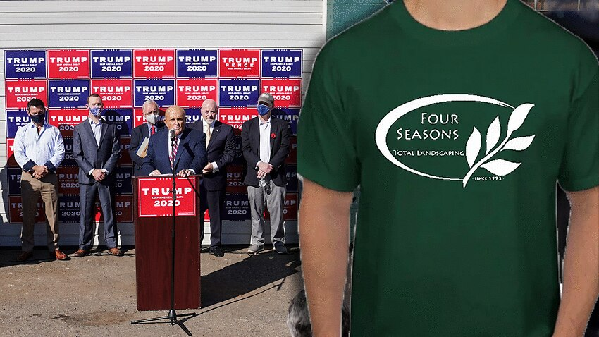 Four Seasons Total Landscaping in Philadelphia say they have been inundated with requests for merch after Trump campaign booked them for a media conference.