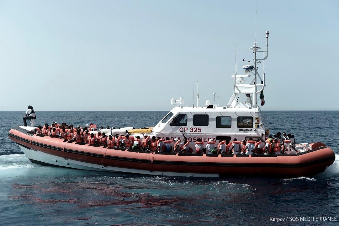 June 12, 2018: The migrants were transferred from the Aquarius ship to Italian Coast Guard boats.