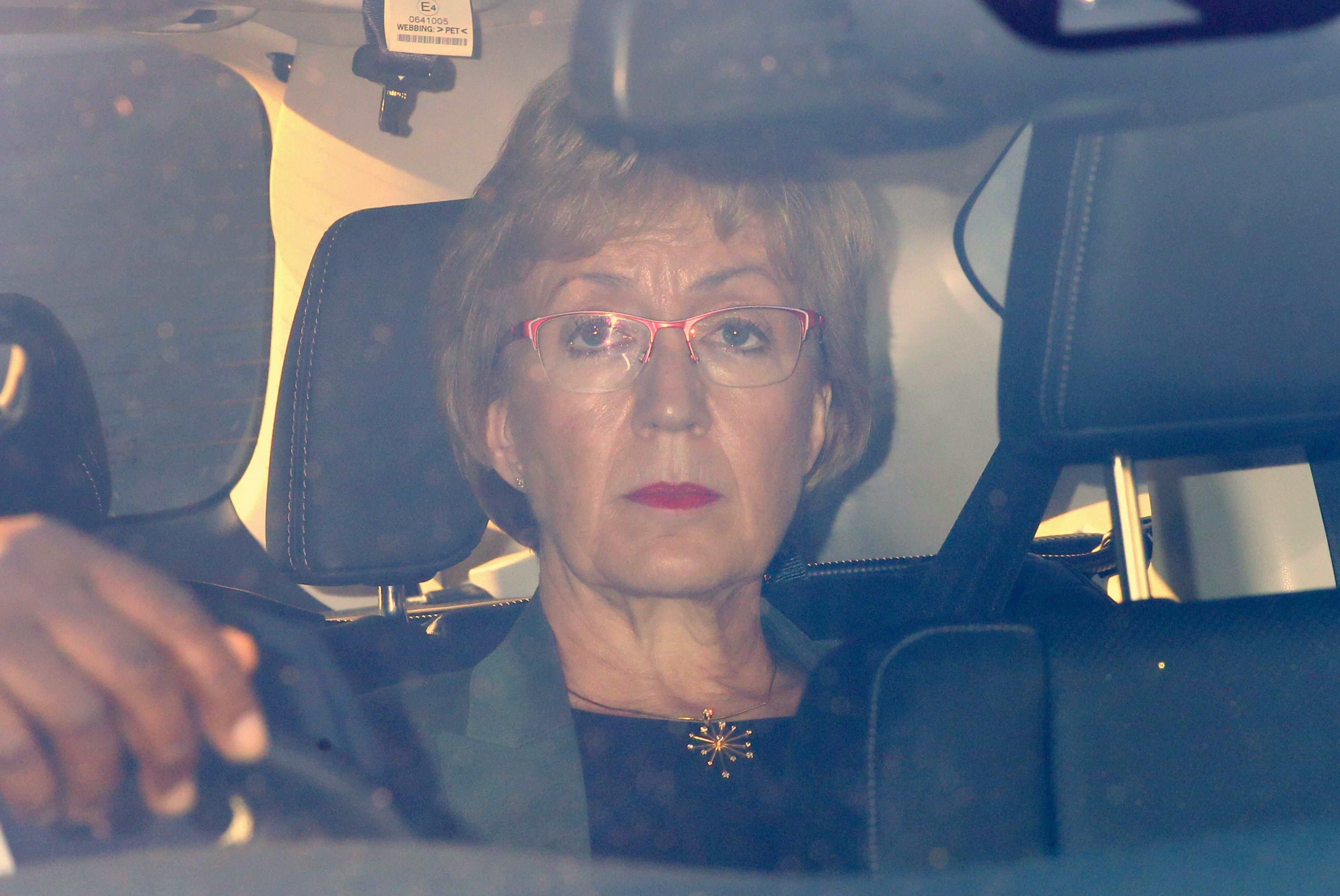 Leader of the House of Commons Andrea Leadsom leaves the Houses of Parliament after resigning.