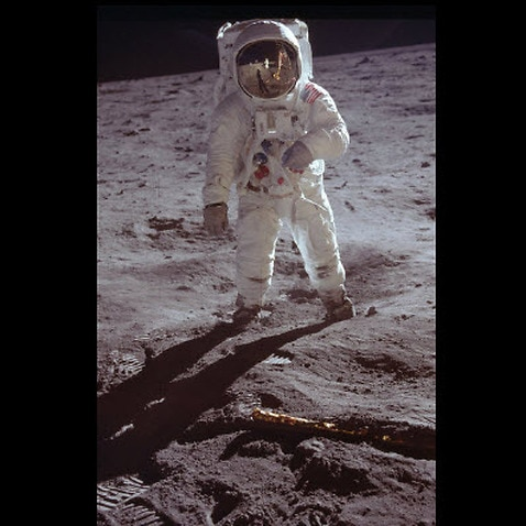 Neil Armstrong on the moon, taken by Buzz Aldrin