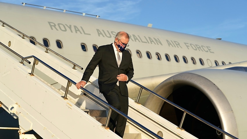 Prime Minister Scott Morrison arrives in New York ahead of meetings with US President Biden and other world leaders on Monday.