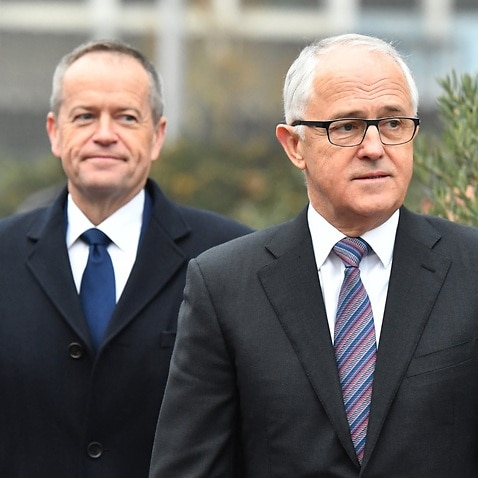 Prime Minister Malcolm Turnbull and Leader of the Opposition Bill Shorten attend a memorial service for the victims of the Manchester terror attack