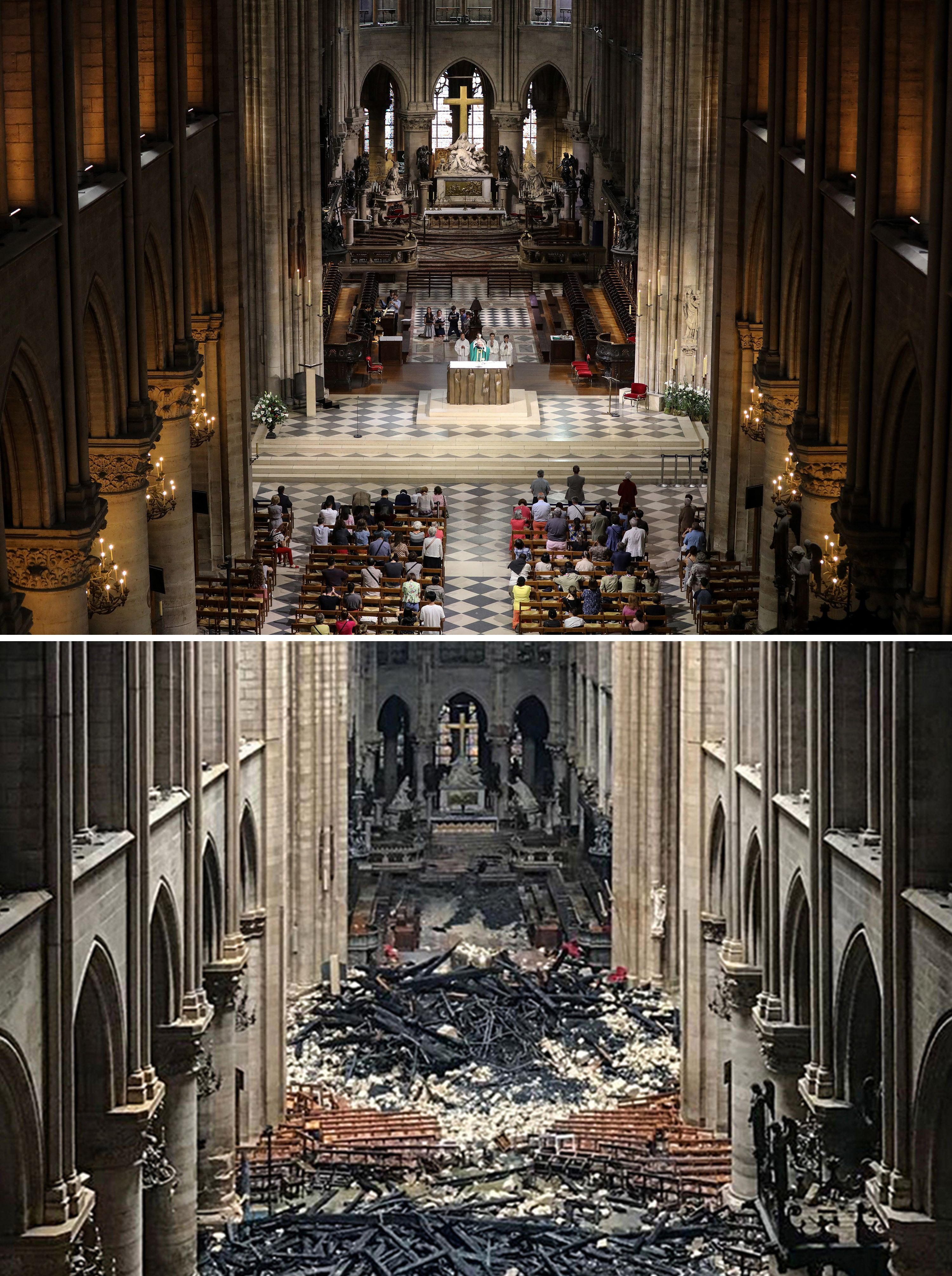 People attend mass in 2016 inside the famous cathedral, and (bottom) the aftermath of the blaze.