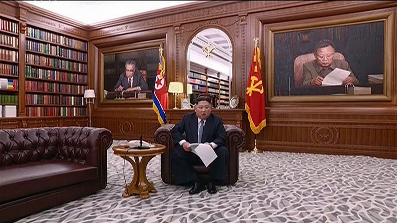 North Korean leader Kim Jong Un delivers a speech in North Korea.
