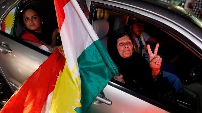 Celebrations in Erbil after the referendum.
