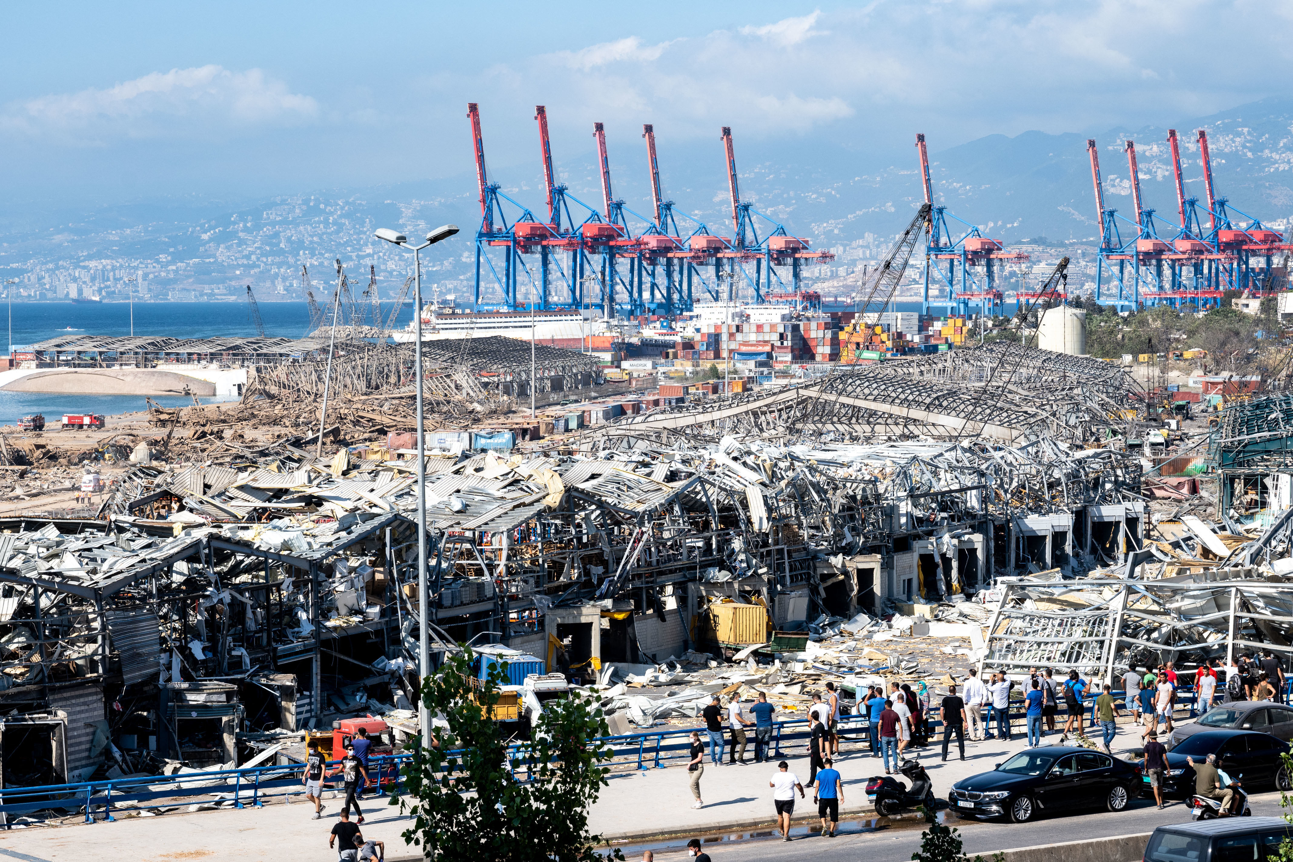 The destruction at the port of Beirut, as seen the day after a huge unknown blast.