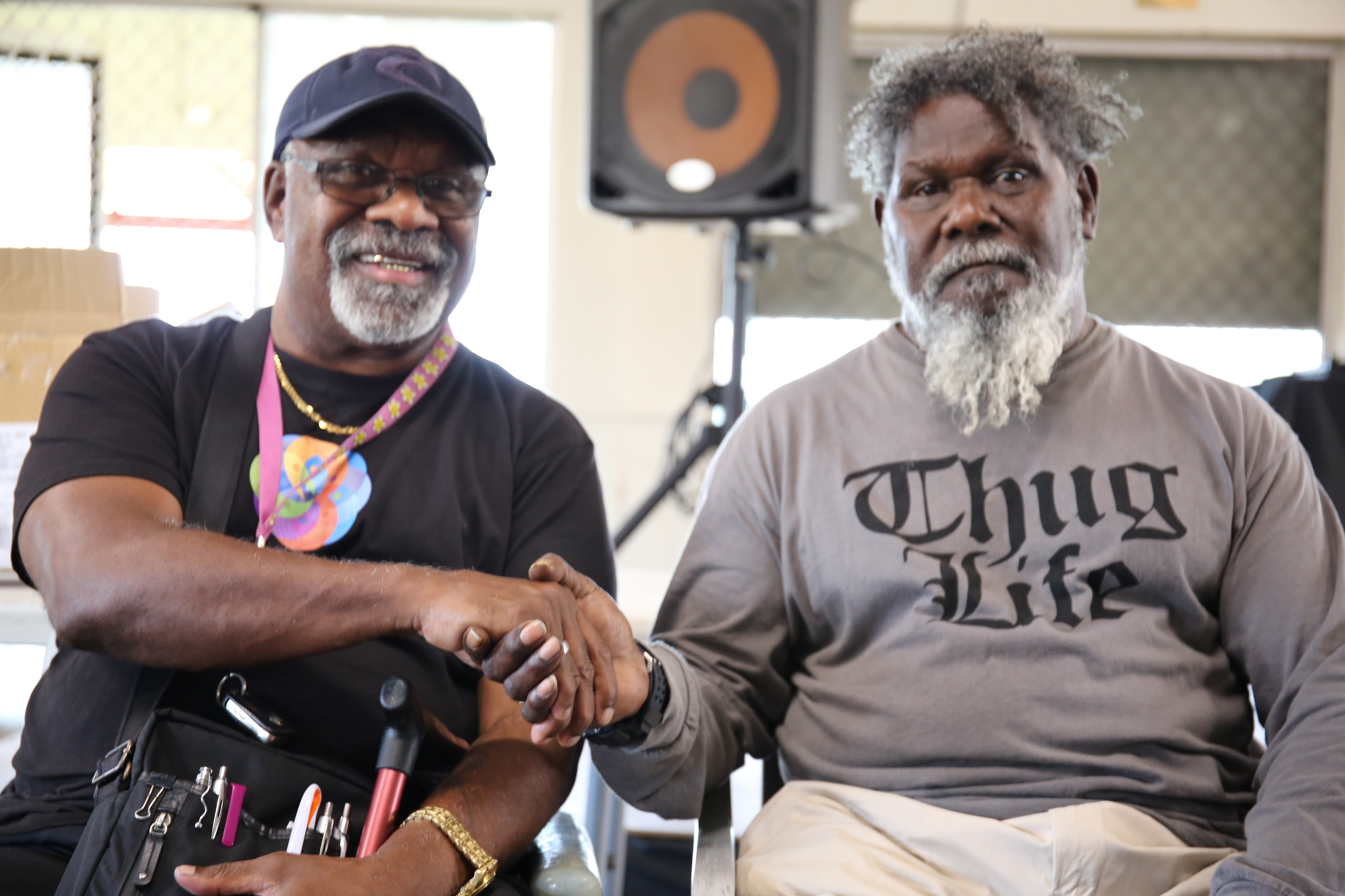 Healing Foundation projects officer Frank Cook and Kaurareg Native Title Aboriginal Corporation chair Milton Savage.