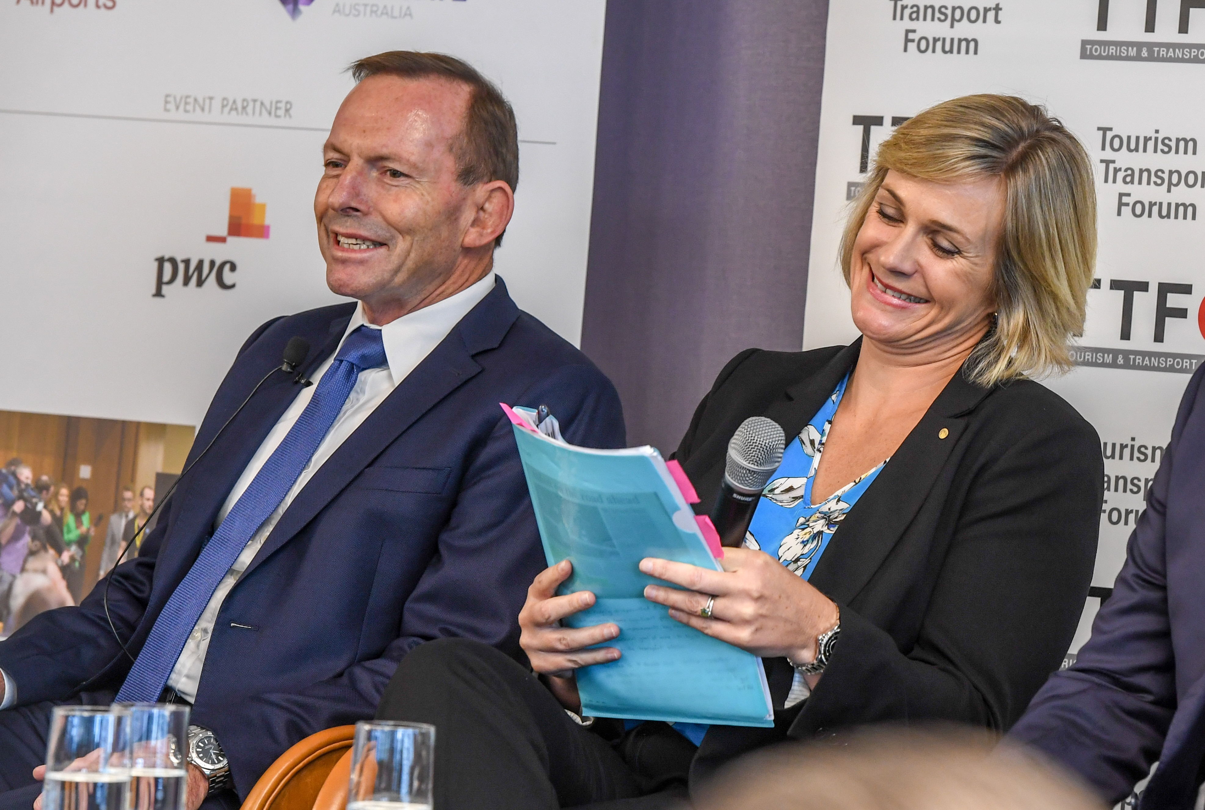 Warringah Tony Abbott with Independent candidate Zali Steggall at a previous tourism forum.