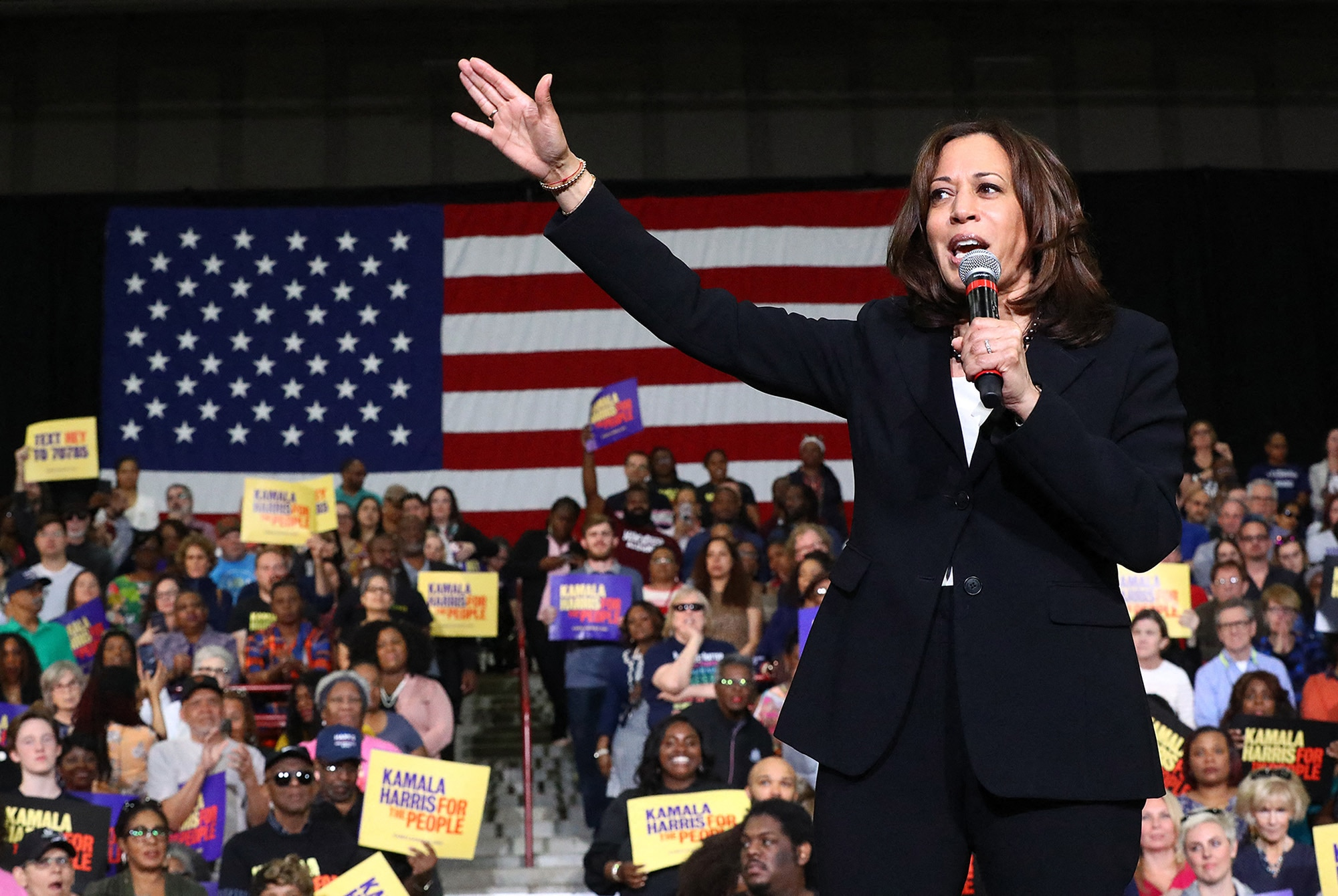 Senator Kamala Harris addresses supporters while holding a campaign rally in Atlanta in 2019.