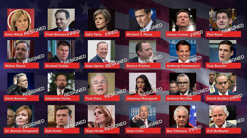 The fired and resigned members of the Trump administration.