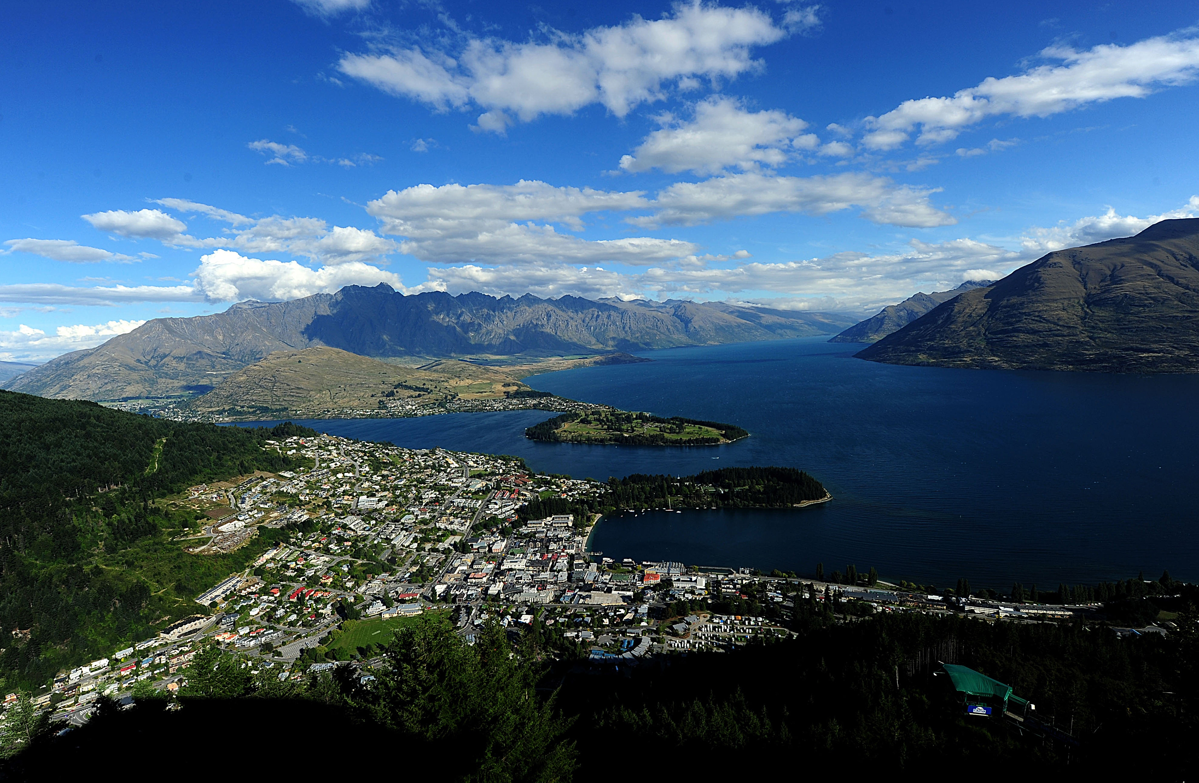 A general view of Queenstown, New Zealand on the South Island.