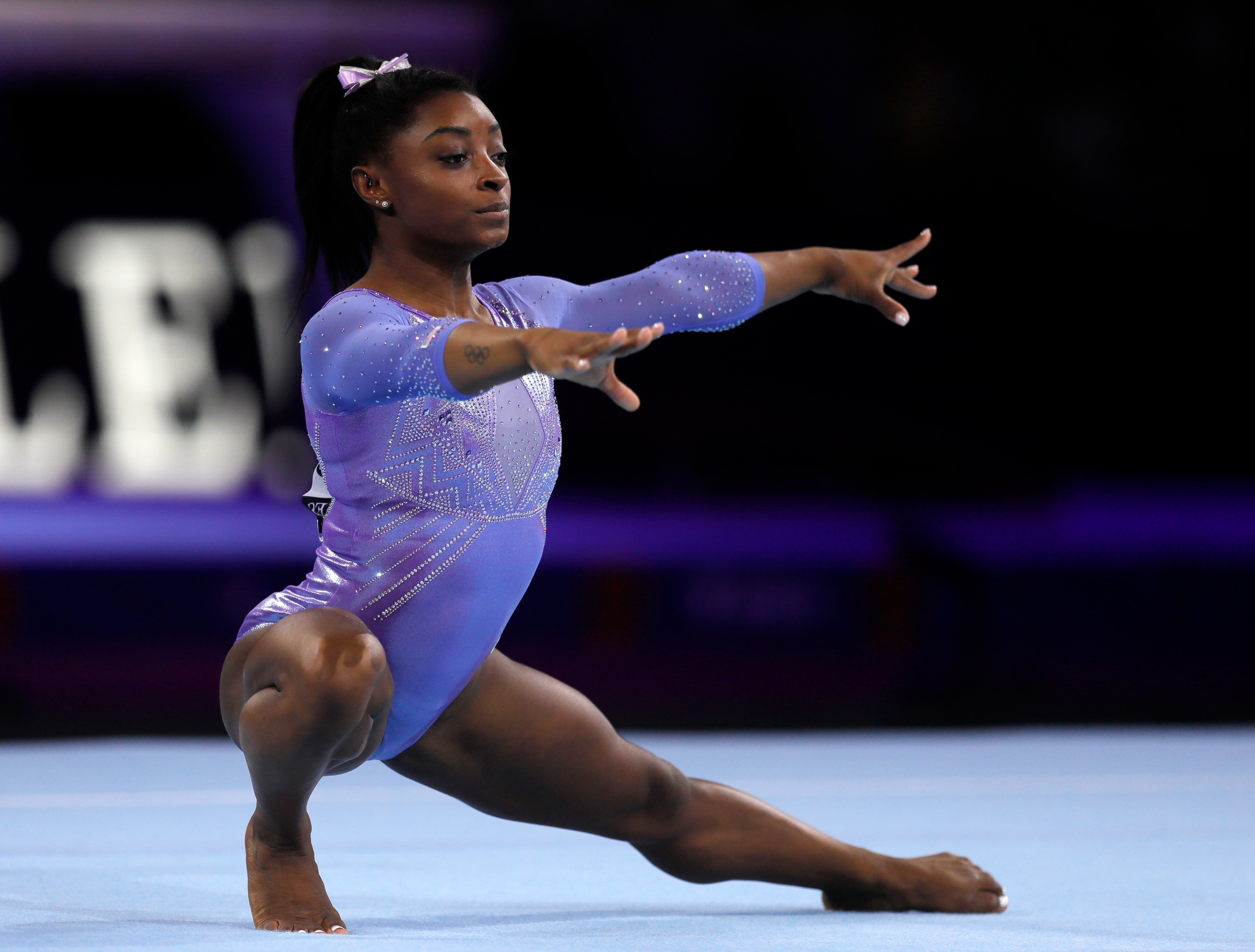 Simone Biles of the USA competes in the floor women's final at the FIG Artistic Gymnastics World Championships in Stuttgart, Germany.