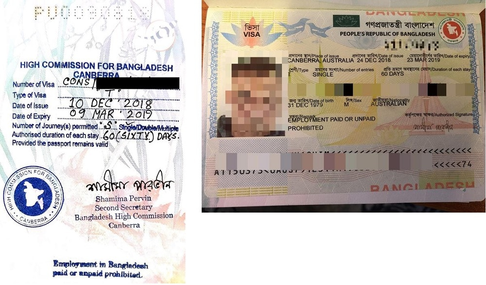 Manual visa phased out in February 2018 (left) current machine-readable visa