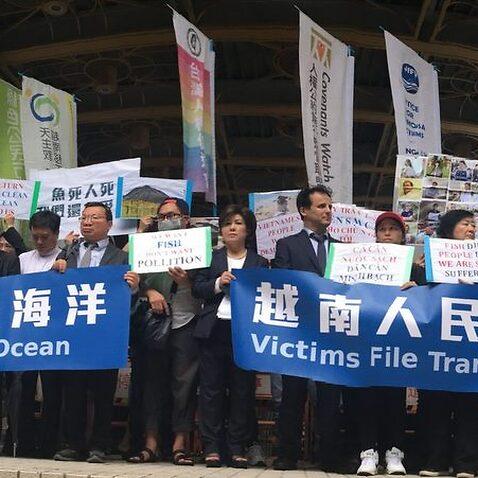 Các phái đoàn từ Việt Nam, Mỹ và Canada đại diện nạn nhân Formosa đi nộp đợn kiện công ty này tại Đài Bắc