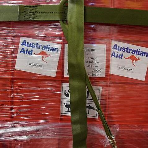 Aid onboard an Australian RAAF C-17 Globemaster.