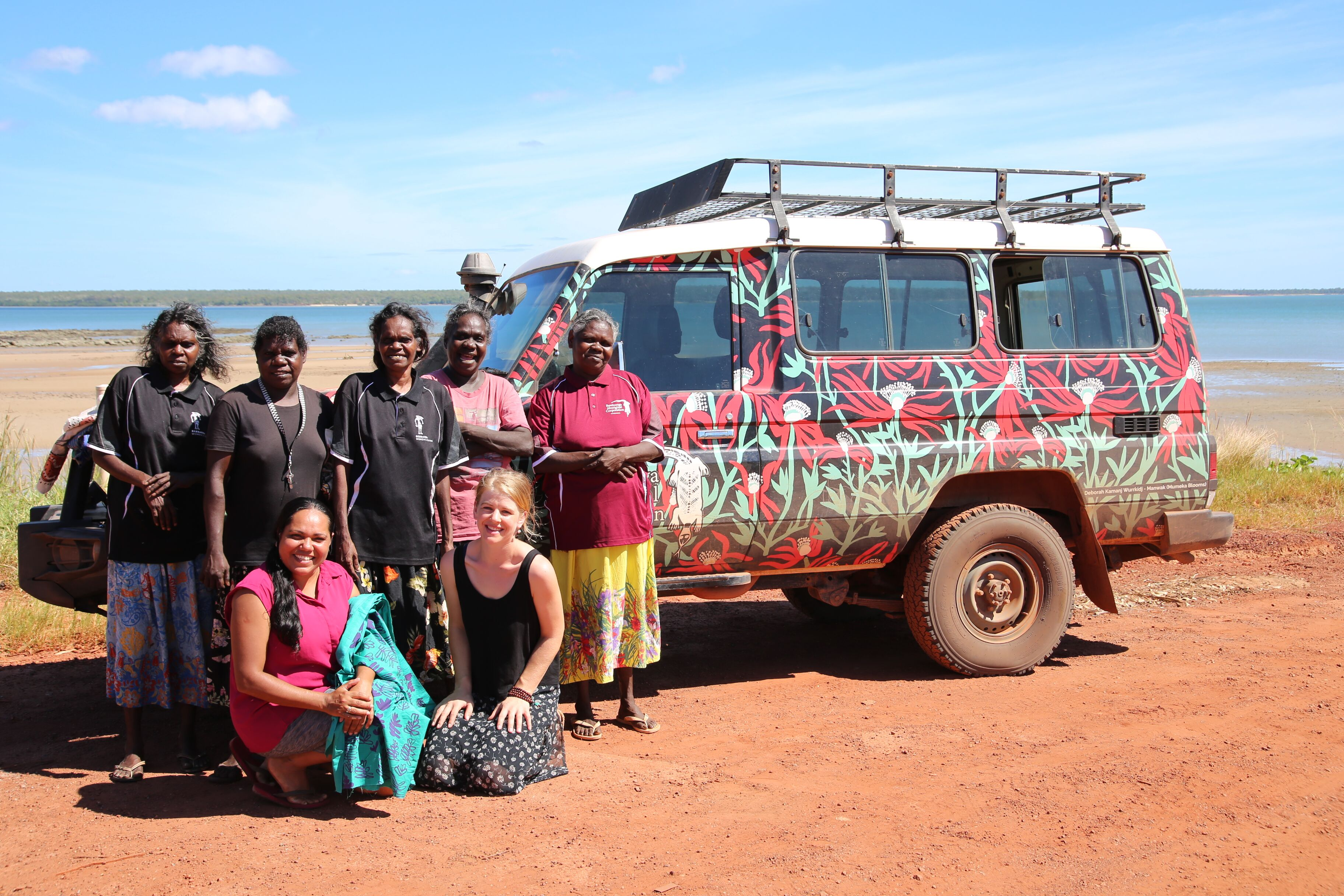 The Babbarra Women's Centre artists and team at Maningrida barge landing